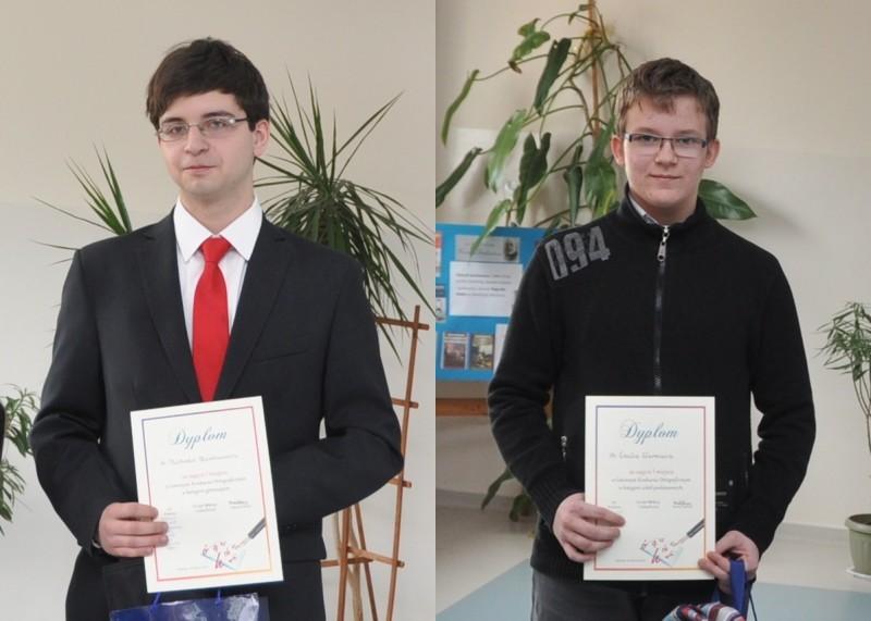 Mistrzowie ortografii od lewej z gimnazjum Michał Phanhauser, SP Emil Warmuza