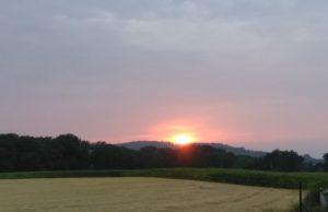 Zachód słońca za Gęsimi Górkami w okolicach Rogoźnicy, fot. Magdalena Seregin, 31.07.2019