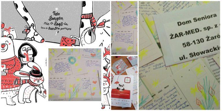 Wychowankowie z Mrowin przygotowali kartki świąteczne dla seniorów