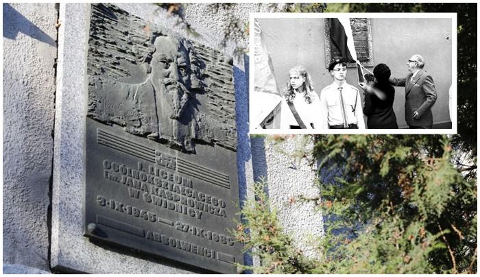 Rzeźba renifera to nie jedyna pamiątka w Świdnicy po Marii Bor. Tablica pamiątkowa na I LO