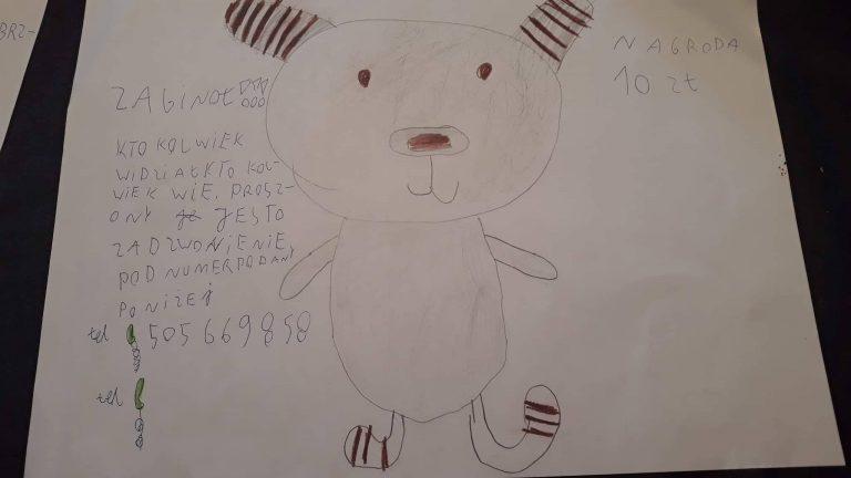 Zaginął pluszowy miś. 6-latka prosi o pomoc i oferuje nagrodę