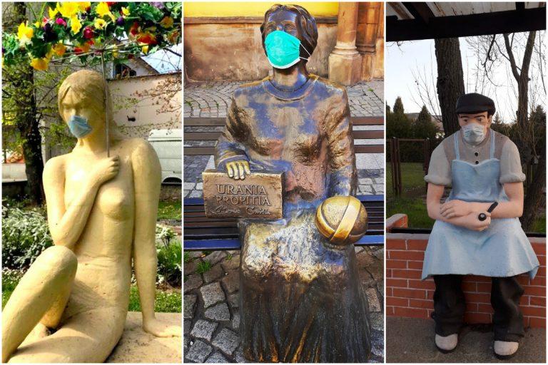 Rzeźby z maseczkami przypominają o zakrywaniu twarzy [FOTO]