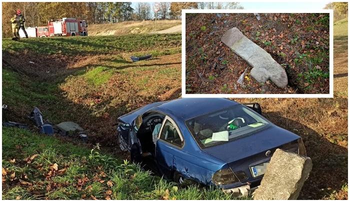 Samochód ściął przydrożny krzyż. Kto postawi zabytek na dawne miejsce?